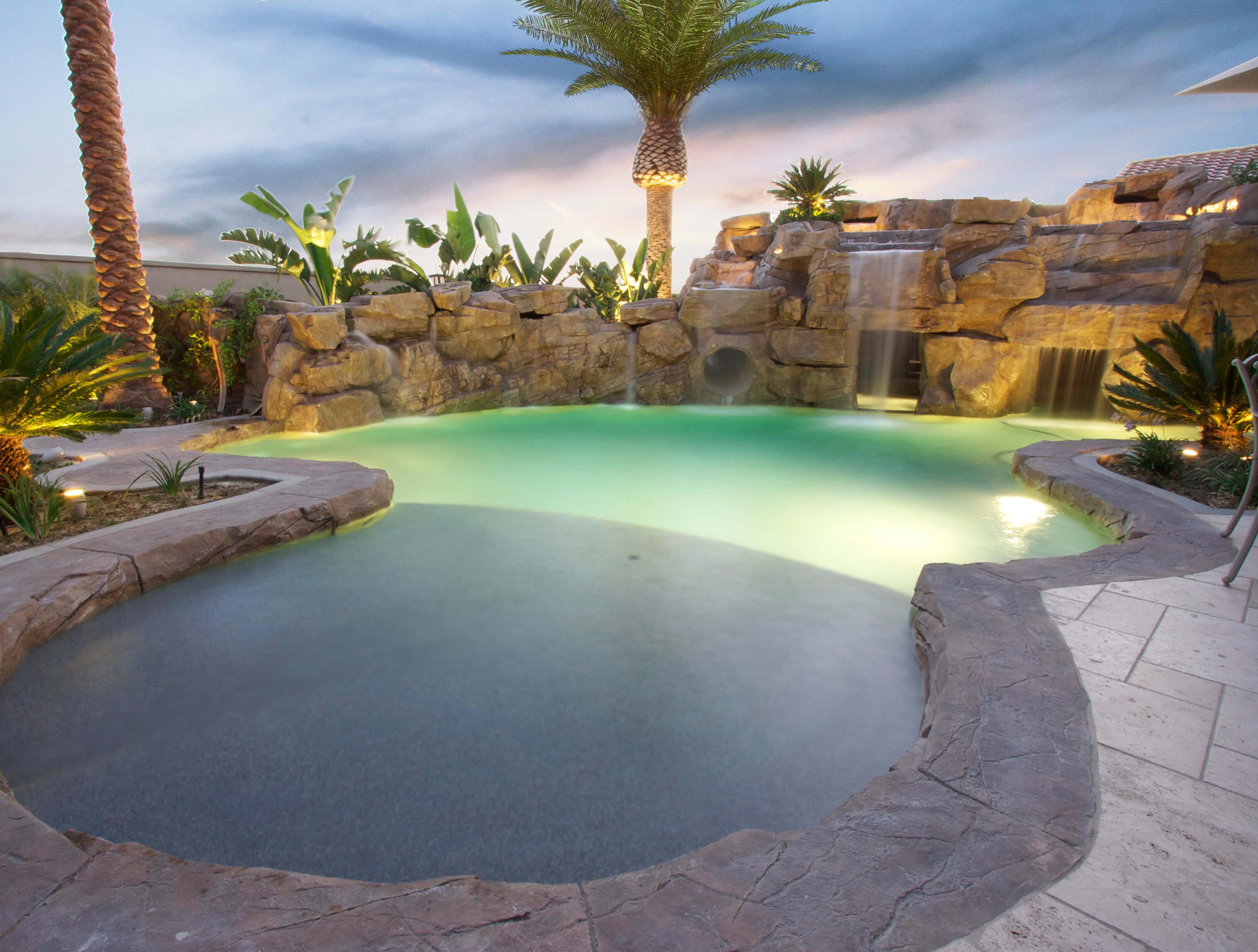 Small Backyard Pools With Waterfall